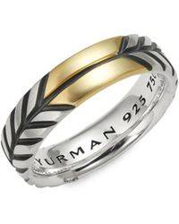 David Yurman - 18k Gold & Sterling Silver Band Ring - Lyst