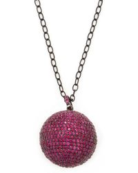 Arthur Marder Fine Jewelry - Silver & Ruby Ball Pendant Necklace - Lyst