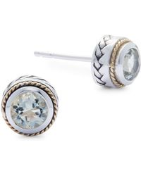 Effy - Green Amethyst, 18k Yellow Gold And Sterling Silver Stud Earrings - Lyst