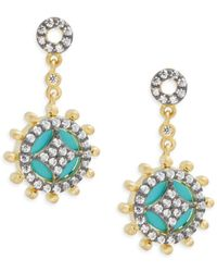 Freida Rothman - Classic Black Rhodium, 14k Goldplated Sterling Silver & Cubic Zirconia Small Turquoise Slice Wheel Drop Earrings - Lyst