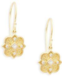Amrapali - Heritage 18k Yellow Gold & Diamond Mosaic Drop Earrings - Lyst