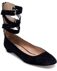 Valentino - Suede Ankle-wrap Flats - Lyst