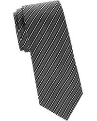 Armani Striped Silk Tie - Black