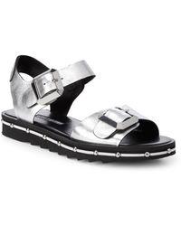 Charles David - Metallic Leather Strap Sandals - Lyst
