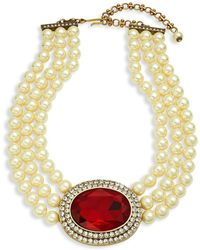 Heidi Daus - Faux Pearl Oval Center Necklace - Lyst