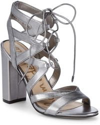 Sam Edelman - Yardly Metallic Leather Ankle Strap Sandals - Lyst