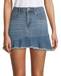 Vigoss - Jagger Frayed Denim Mini Skirt - Lyst