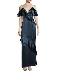 ABS By Allen Schwartz - Cold-shoulder Ruffle Gown - Lyst