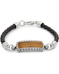 Effy - Tigers Eye, Sterling Silver And Leather Bracelet - Lyst