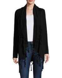 Ella Moss - Ninette Fringed Open-front Wool & Cashmere Blend Sweater - Lyst