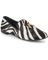 0b603e805 Giuseppe Zanotti - Zebra-print Leather & Calf Hair Smoking Slippers - Lyst