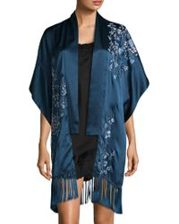 Natori - Embroidered Silk Cardigan - Lyst