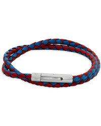 Tateossian - Braided Leather Wraparound Bracelet - Lyst