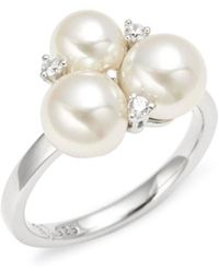 Majorica - Sterling Silver, 6-7mm White Faux Pearl & Crystal Ring - Lyst