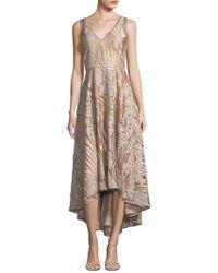 Belle By Badgley Mischka - Embellished V-neck Dress - Lyst