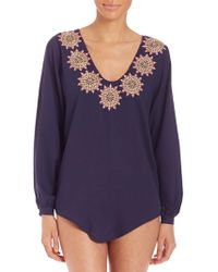 OndadeMar - Embroidered V-neck Cover-up Blouse - Lyst