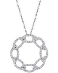 Nephora - 14k White Gold And Interlocking Diamonds Circle Pendant Necklace - Lyst