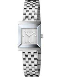 Gucci - Ladies' G-frame Watch With Silvertone Guilloche Dial - Lyst