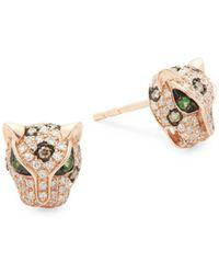 Effy - Diamond, Tsavorite & 14k Rose Gold Stud Earrings - Lyst