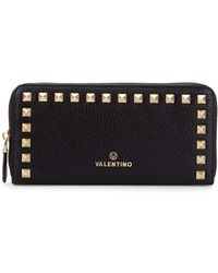 Valentino By Mario Valentino - Grace Studded Zip-around Leather Wallet - Lyst
