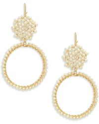 Panacea - Faux Pearl Drop Hoop Earrings - Lyst