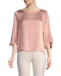 Vince Camuto - Smocked Three-quarter Sleeve Top - Lyst