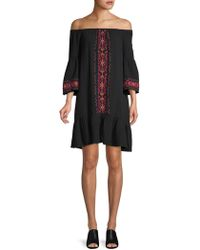 Beach Lunch Lounge - Bell-sleeve Off-the-shoulder Cotton Shift Dress - Lyst