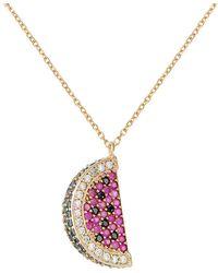 Gabi Rielle - Watermelon Green, Black, White & Ruby Crystal Pendant Necklace - Lyst