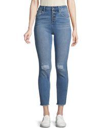 Max Studio - Frayed-trim High-rise Jeans - Lyst