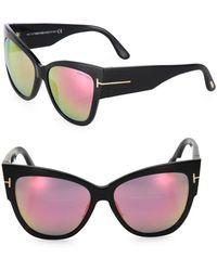 89efbe64ff Tom Ford - Anoushka 57mm Mirrored Cat Eye Sunglasses - Lyst