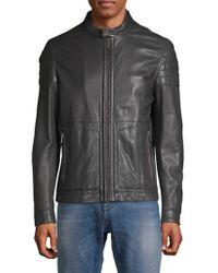 BOSS - Racer Leather Jacket - Lyst