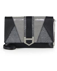 MILLY - Whitney Patchwork Leather Clutch - Lyst