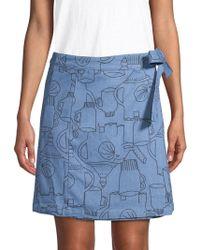 Lea & Viola - Elephant-print Denim Mini Skirt - Lyst
