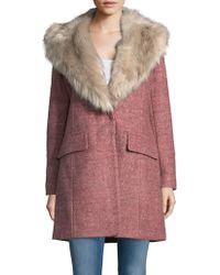 Badgley Mischka - Wool-blend Faux Fur Collar Walker Coat - Lyst
