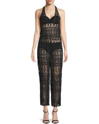 Alice + Olivia - Blakely Lace Halter Jumpsuit - Lyst