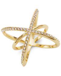 Saks Fifth Avenue | Goldtone Cubic Zirconia Starburst Pave Midi Ring | Lyst