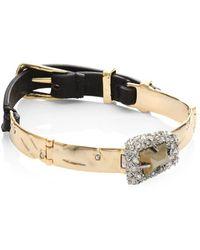 Alexis Bittar - Leather & Pyrite Bracelet - Lyst
