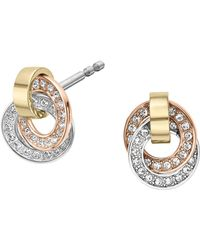 Michael Kors - Double Ring Pavé Earrings - Lyst