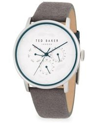 Ted Baker - Round Stainless Steel And Leather-strap Watch - Lyst