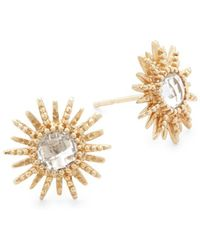 Anzie - 14k Yellow Gold & White Topaz Sun Stud Earrings - Lyst