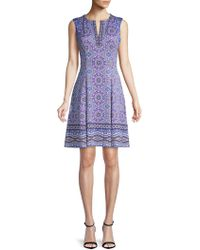 Maggy London - Printed Scuba Fit-&-flare Dress - Lyst