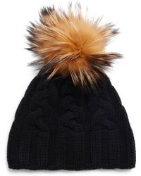 Saks Fifth Avenue - Contrasting Dyed Fox Fur Cashmere Cap - Lyst