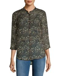 8da335ea French Connection Hallie Crinkle Collarless Shirt in Black - Lyst