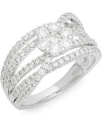Effy - Diamond And 14k White Gold Crossover Ring - Lyst