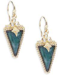 Armenta - Old World Diamond, Sapphire, Malachite, Rainbow Moonstone, 18k Yellow Gold & Sterling Silver Earrings - Lyst
