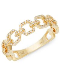 Saks Fifth Avenue - 14k Yellow Gold & Diamond Link Ring - Lyst