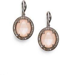 Bavna - Diamond, Peach Moonstone & Sterling Silver Earrings - Lyst