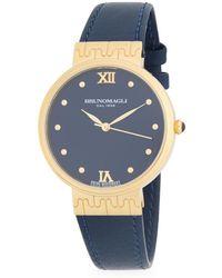Bruno Magli - Goldtone Unique Leather Strap Watch - Lyst