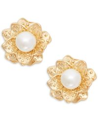 Kenneth Jay Lane - Faux Pearl Flower Clip-on Earrings - Lyst