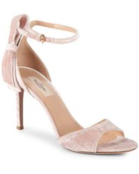 Valentino - Pretty Bow Velvet Ankle-strap Sandals - Lyst